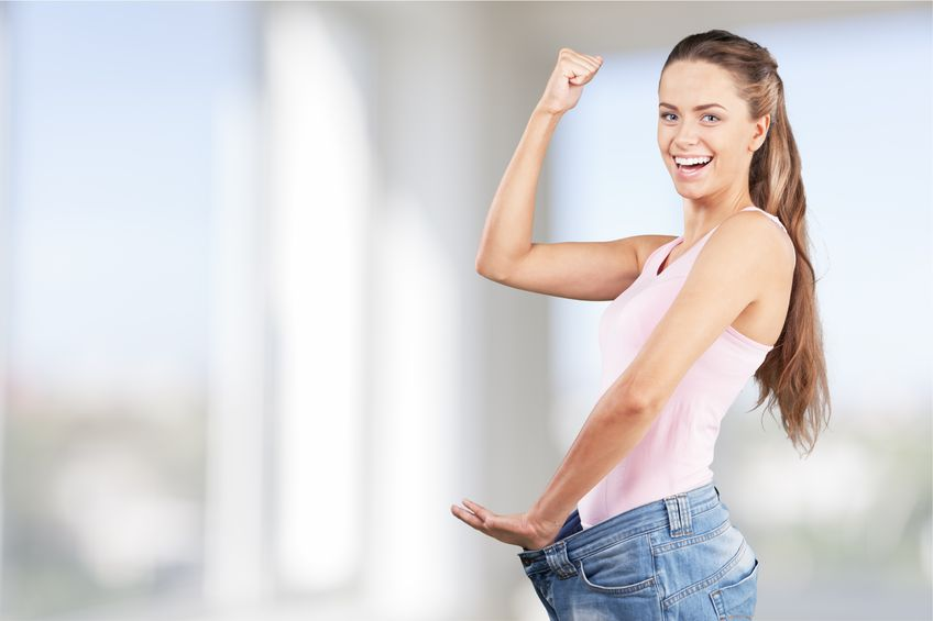 woman lost weight, happy with results